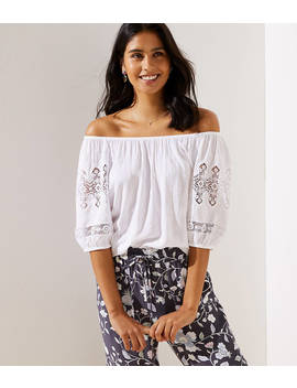 Lace Sleeve Off The Shoulder Top by Loft