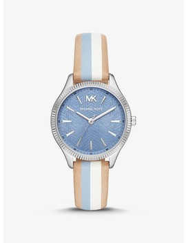 Lexington Silver Tone And Striped Leather Watch by Michael Kors