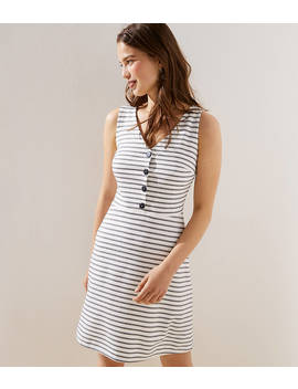 Striped Button Flare Dress by Loft