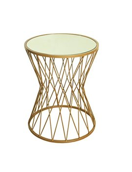 Home Pop Hourglass Metal Accent Table Mirror Top, Gold by Home Pop