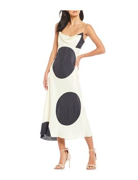Sectional Cowl Neck Midi Slip Dress by C/Meo