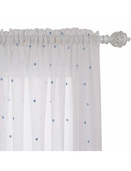 Deconovo Curtains Faux India Cotton Embroidered Blue Dot Rod Pocket Cute Voile Curtain Panels For Windows 52 W X 96 L Inch White A Set Of Two by Deconovo