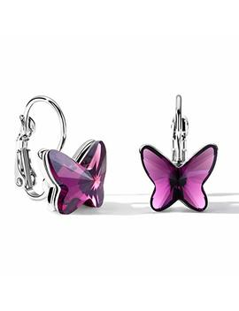 T400 Blue Purple Pink Lever Back Butterfly Crystal Earrings ♥ Birthday Gift For Women Girls by T400