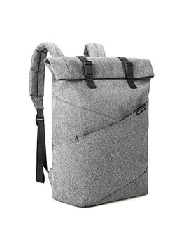 Bagsmart Laptop Backpack Weekender Travel Business Multipurpose Roll Top Fashion Rucksack Fits 15.6 Inch Laptops, Grey by Bagsmart