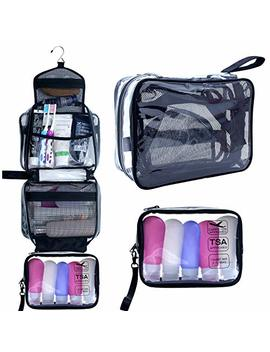 Hanging Toiletry Bag, Clear Travel Toiletry Bag With Detachable Tsa Approved Small Clear Bag Airline 3 1 1 Carry On Compliant Bag Makeup Bag For Men And Women (Black) by Tanto