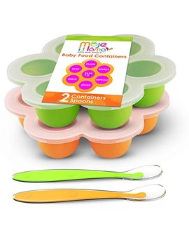 Best Homemade Baby Food Storage Container Freezer Trays   Reusable Food Container Silicon Tray With Clip On Lid   2 Pack Bundle With 2 Bonus Spoons   Bpa Free Fda Approved 2.6... by Best Healthy Homemade Food Storage Container