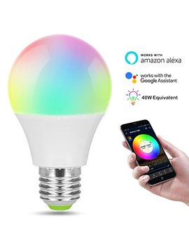 Smart Led Wi Fi Bulb, Colour Changing Light Bulb With Socket Led Lamp Adapter, Compatible With Alexa, Google Home Ifttt,40 W Equivalent, Emit Tuneable White Lights, Remote Controlled By A Smartphone by Alex Gt