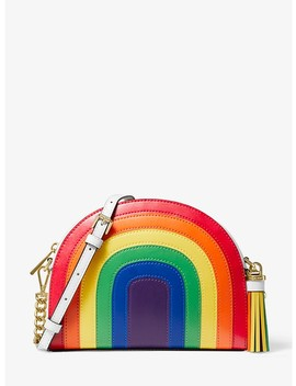 Ginny Rainbow Leather Half Moon Crossbody Bag by Michael Michael Kors