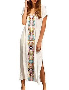 Women's Colorful Cotton Embroidered Turkish Kaftans Beachwear Bikini Cover Up Dress by Rainlover