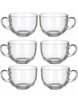 Set Of 6 Large 16oz Glass Wide Mouth Coffee Mug Tea Cup With Handle   Dishwasher & Microwave Safe by Lavo Home