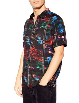 Slim Fit Glitch Print Shirt by Topman