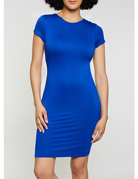 Solid Bodycon T Shirt Dress by Rainbow