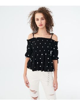 printed-smocked-cold-shoulder-top by aeropostale