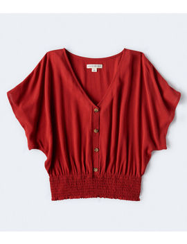 Smocked Button Front Top by Aeropostale