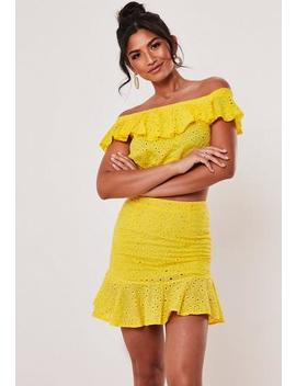 Yellow Broderie Anglaise Top And Skirt Co Ord Set by Missguided