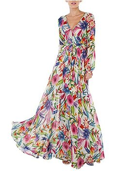 Asmax Hao Duo Yi Women's Tropical Floral Print Pleated Tunic V Neck Wedding Maxi Dress by Asmax