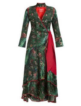 Hidros Floral Print Satin Wrap Midi Dress by F.R.S – For Restless Sleepers