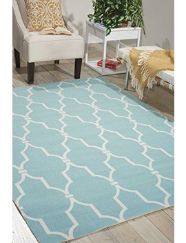 "Nourison Home & Garden (Rs087) Aqua Rectangle Area Rug, 5 Feet 3 Inches By 7 Feet 5 Inches (5'3"" X 7'5"") by Nourison"