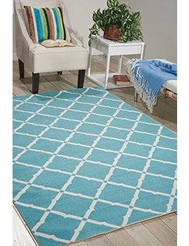"Nourison Home & Garden (Rs091) Aqua Rectangle Area Rug, 5 Feet 3 Inches By 7 Feet 5 Inches (5'3"" X 7'5"") by Nourison"
