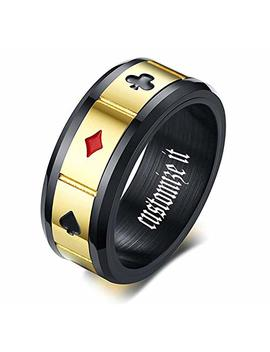 Mprainbow Unique Design Ring Men's Band Rings Playing Card Poker Ring Wedding Rings Engagement Rings Promise Rings Rotating Ring by Mprainbow