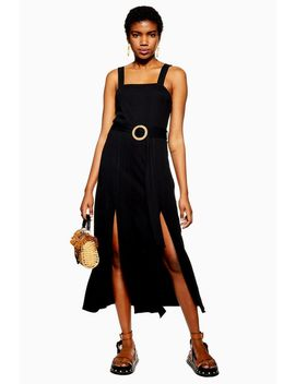 Black Ribbed Raffia Midi Dress by Topshop