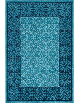 Well Woven Casa Tuscany Light Blue & Grey Modern Classic Mediterranean Tile Border Floral 5' X 7' Area Rug Soft Shed Free Easy To Clean Stain Resistant by Well Woven