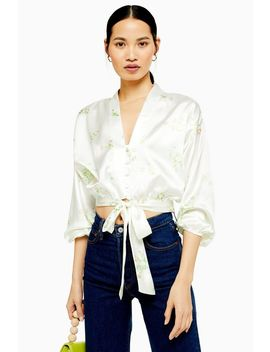 Daisy Belted Plunge Blouse by Topshop