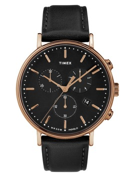 Fairfiled Leather Strap Watch, 41mm by Timex®
