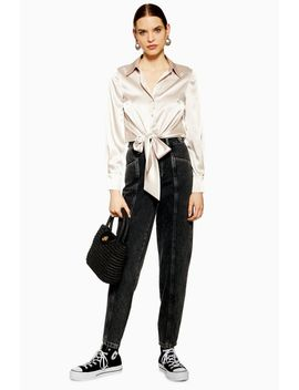 Black Waistband Ovoid Jeans by Topshop