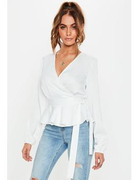White Frill Hem Side Tie Blouse by Missguided