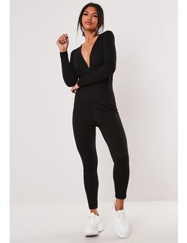 Black Basic Wrap Skinny Leg Jumpsuit by Missguided