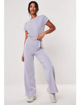 Lilac Rib Belted Wide Leg Jumpsuit by Missguided