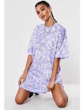 Lilac Oversized Tie Dye T Shirt Dress by Missguided