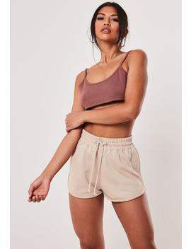 Stone Loopback Tie Waist Runner Shorts by Missguided