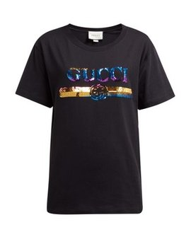 Logo Sequin Embellished Cotton Jersey T Shirt by Gucci