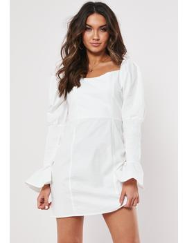 Tall White Cotton Milkmaid Dress by Missguided