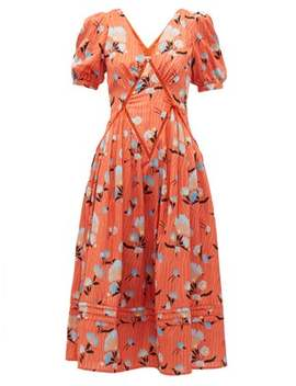 Floral Print Lace Insert Dress by Self Portrait