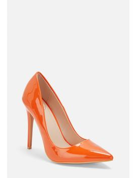Neon Orange Patent Pumps by Missguided