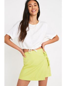 Uo Lime Tie Wrap Linen Mini Skirt by Urban Outfitters