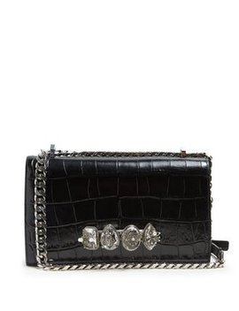 Knuckle Crocodile Effect Leather Cross Body Bag by Alexander Mc Queen