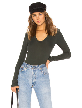 Rib Fitted Long Sleeve Top by Enza Costa