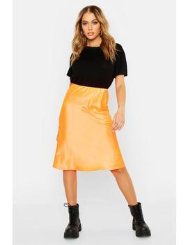 Neon Luxe Satin Bias Cut Midi Skirt by Boohoo