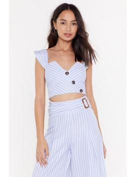 Stripe Cotton Frill Strap Crop Top by Nasty Gal