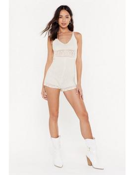 Crochet Strappy Playsuit by Nasty Gal