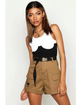 Cargo Belted Twill Short by Boohoo