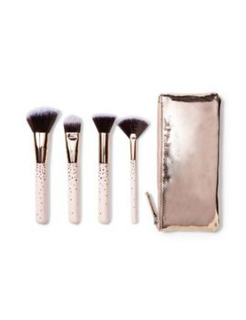 Rose Gold Stars Brush Set Of 4 Makeup Foundation Brushes + Zip Pouch Bag Target by Ebay Seller