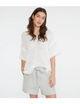 Lou & Grey Crosshatch Softstretch Linen Tie Waist Shorts by Loft