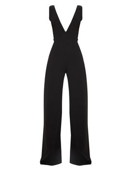 Black Plunge Backless Wide Leg Jumpsuit by Prettylittlething