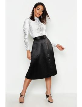 Satin Pleated Midi Skirt by Boohoo