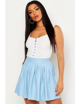 Leather Look Pu Skater Skirt by Boohoo